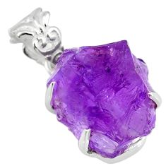 925 sterling silver 16.85cts natural purple amethyst raw fancy pendant r82991