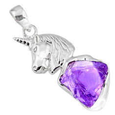 925 sterling silver 7.32cts natural purple amethyst rough horse pendant r56868