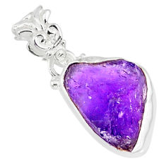 925 sterling silver 9.34cts natural purple amethyst raw pendant jewelry r80737