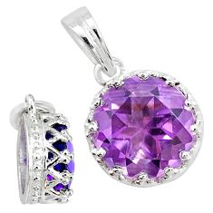 925 sterling silver 5.11cts natural purple amethyst round crown pendant t7851