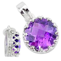 925 sterling silver 4.60cts natural purple amethyst round crown pendant t7874