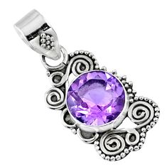 925 sterling silver 3.16cts natural purple amethyst round pendant jewelry r57703