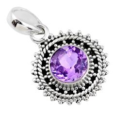 925 sterling silver 2.82cts natural purple amethyst round pendant jewelry r58083