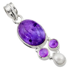 925 sterling silver 12.07cts natural purple amethyst white pearl pendant d43589