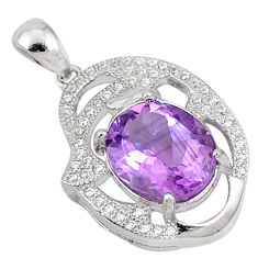 925 sterling silver natural purple amethyst white topaz pendant jewelry c18150