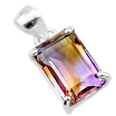 925 sterling silver 6.85cts natural purple ametrine octagan pendant t24279