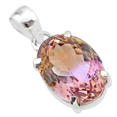 925 sterling silver 9.98cts natural purple ametrine oval pendant jewelry t45157