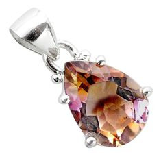 925 sterling silver 6.67cts natural purple ametrine pear pendant jewelry t50180