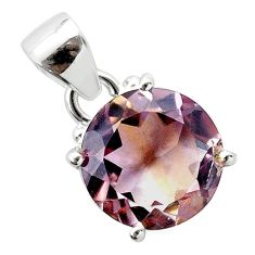 925 sterling silver 6.73cts natural purple ametrine round pendant jewelry t50166
