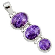 925 sterling silver 11.21cts natural purple charoite (siberian) pendant r39659