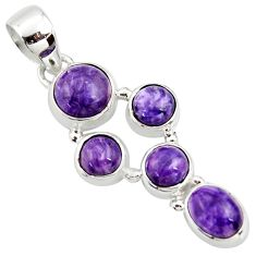 925 sterling silver 8.03cts natural purple charoite (siberian) pendant r39664