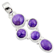 925 sterling silver 7.79cts natural purple charoite (siberian) pendant r39680