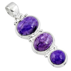 925 sterling silver 16.38cts natural purple charoite (siberian) pendant r47169