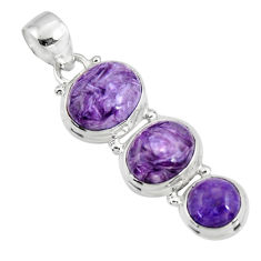 925 sterling silver 15.70cts natural purple charoite (siberian) pendant r47180