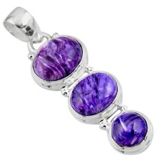 925 sterling silver 12.31cts natural purple charoite (siberian) pendant r53731