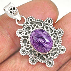 925 sterling silver 4.34cts natural purple charoite (siberian) pendant r85094