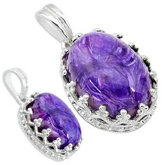 925 sterling silver 6.64cts natural purple charoite (siberian) pendant t20529