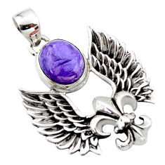 925 sterling silver 5.38cts natural purple charoite feather charm pendant r52866