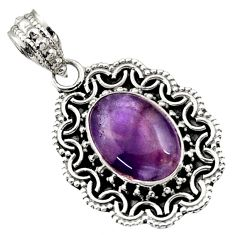 Clearance Sale- 925 sterling silver 6.31cts natural purple chevron amethyst pendant d44987