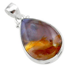 925 sterling silver 16.20cts natural purple grape chalcedony pear pendant t22899