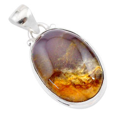 925 sterling silver 15.08cts natural purple grape chalcedony pendant t28774