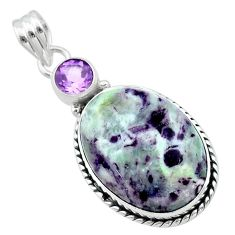 925 sterling silver 18.68cts natural purple kammererite amethyst pendant t22843