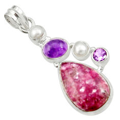 Clearance Sale- 925 sterling silver 18.47cts natural purple lepidolite amethyst pendant d42878