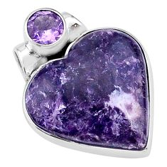 925 sterling silver 13.15cts natural purple lepidolite amethyst pendant t13134
