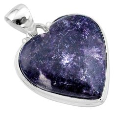 925 sterling silver 19.57cts natural purple lepidolite heart pendant t13280