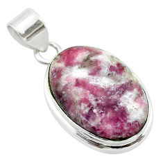 925 sterling silver 17.18cts natural purple lepidolite oval pendant t53750