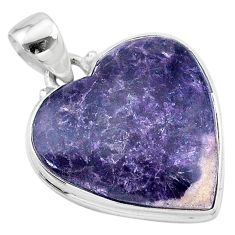 925 sterling silver 19.07cts natural purple lepidolite pendant jewelry t13278