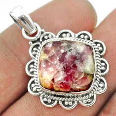 925 sterling silver 11.57cts natural purple lepidolite pendant jewelry t53287