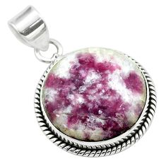 925 sterling silver 16.70cts natural purple lepidolite round pendant t53759