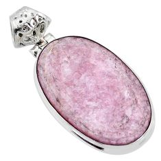 925 sterling silver 16.20cts natural purple muscovite oval pendant r72903