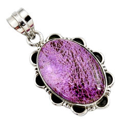 925 sterling silver 14.23cts natural purple purpurite oval pendant r27664