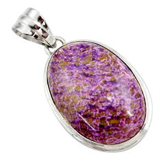 925 sterling silver 15.08cts natural purple purpurite oval shape pendant r27650