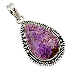 925 sterling silver 17.57cts natural purple purpurite pendant jewelry r27657
