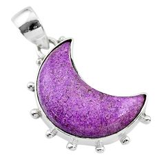 925 sterling silver 10.08cts natural moon purpurite stichtite pendant t21829