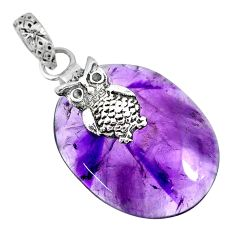 925 sterling silver 24.58cts natural purple star amethyst owl pendant r91377