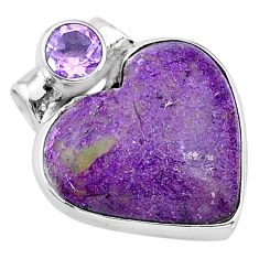 925 sterling silver 12.12cts natural purple stichtite amethyst pendant t13143
