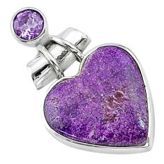 925 sterling silver 12.22cts natural purple stichtite amethyst pendant t13147