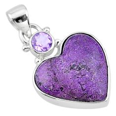 925 sterling silver 11.17cts natural purple stichtite amethyst pendant t13155