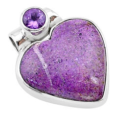 925 sterling silver 12.22cts natural purple stichtite amethyst pendant t13164