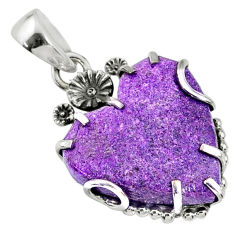 925 sterling silver 13.68cts natural purple stichtite heart pendant r67589