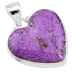 925 sterling silver 14.18cts natural purple stichtite heart pendant t13398