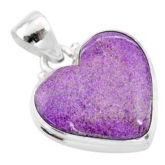 925 sterling silver 12.55cts natural purple stichtite pendant jewelry t13390