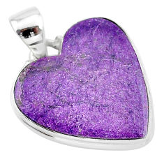925 sterling silver 14.52cts natural purple stichtite pendant jewelry t13400