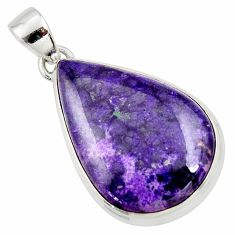 925 sterling silver 19.07cts natural purple sugilite pear pendant jewelry r36384