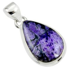 925 sterling silver 12.46cts natural purple sugilite pear pendant jewelry r36390