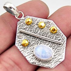 925 sterling silver 3.06cts natural rainbow moonstone 14k gold pendant r37180